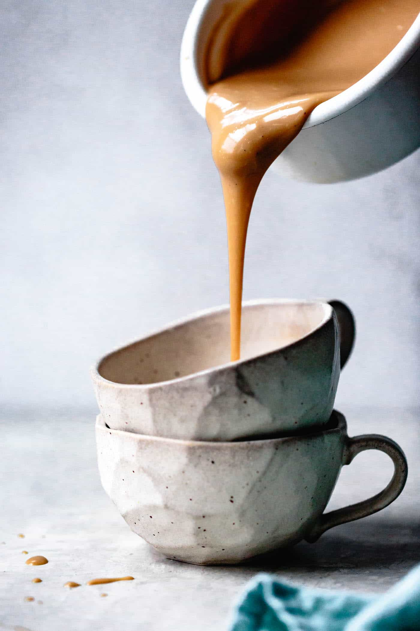 butterscotch pudding recipe (no eggs) pouring into mugs to set