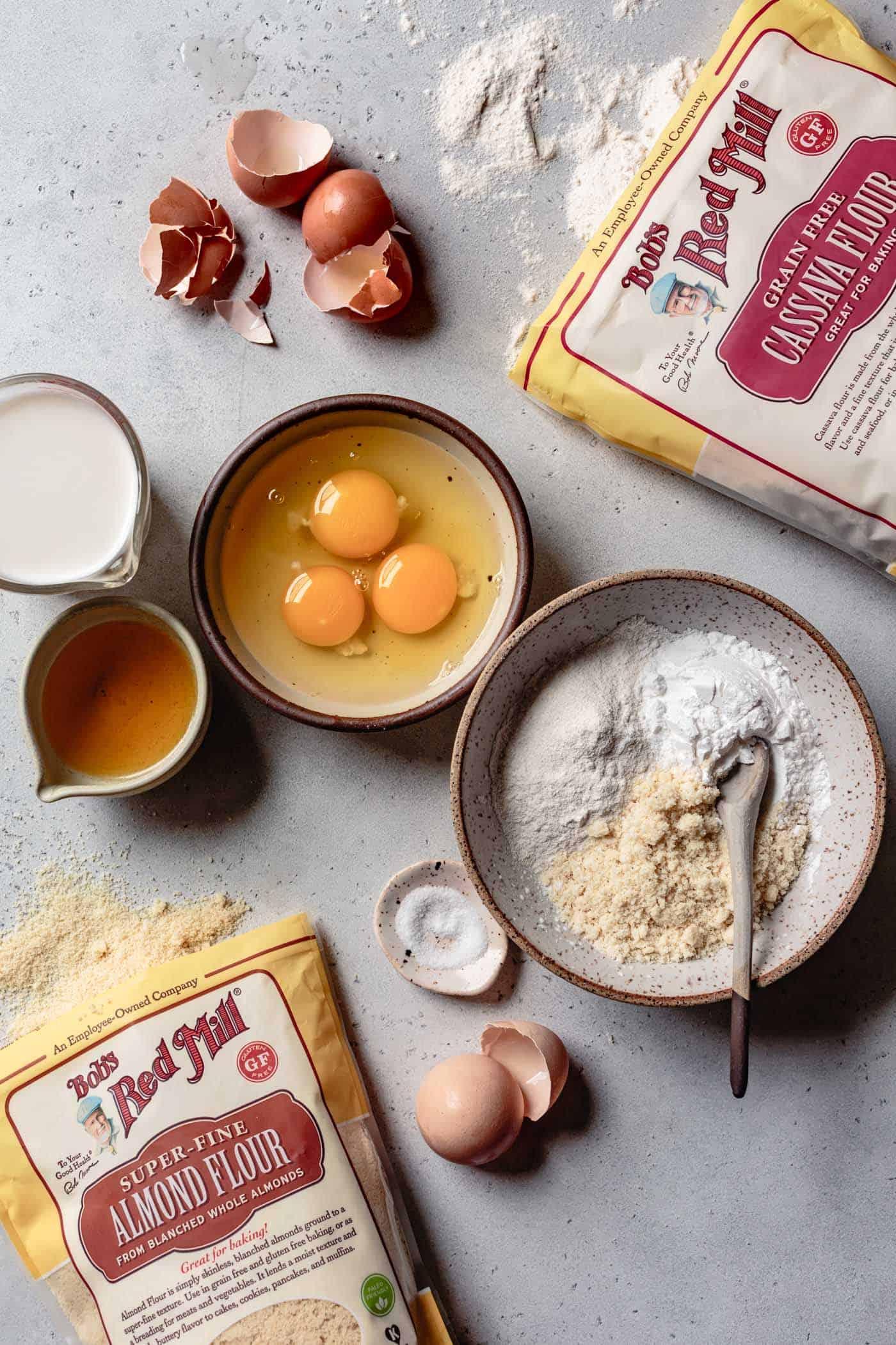 ingredients for paleo crepe recipe (eggs, milk, butter, almond flour, cassava flour)