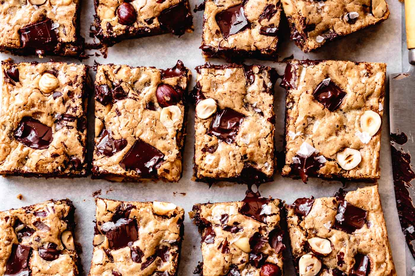 gluten-free blondie bars, just-baked and cut