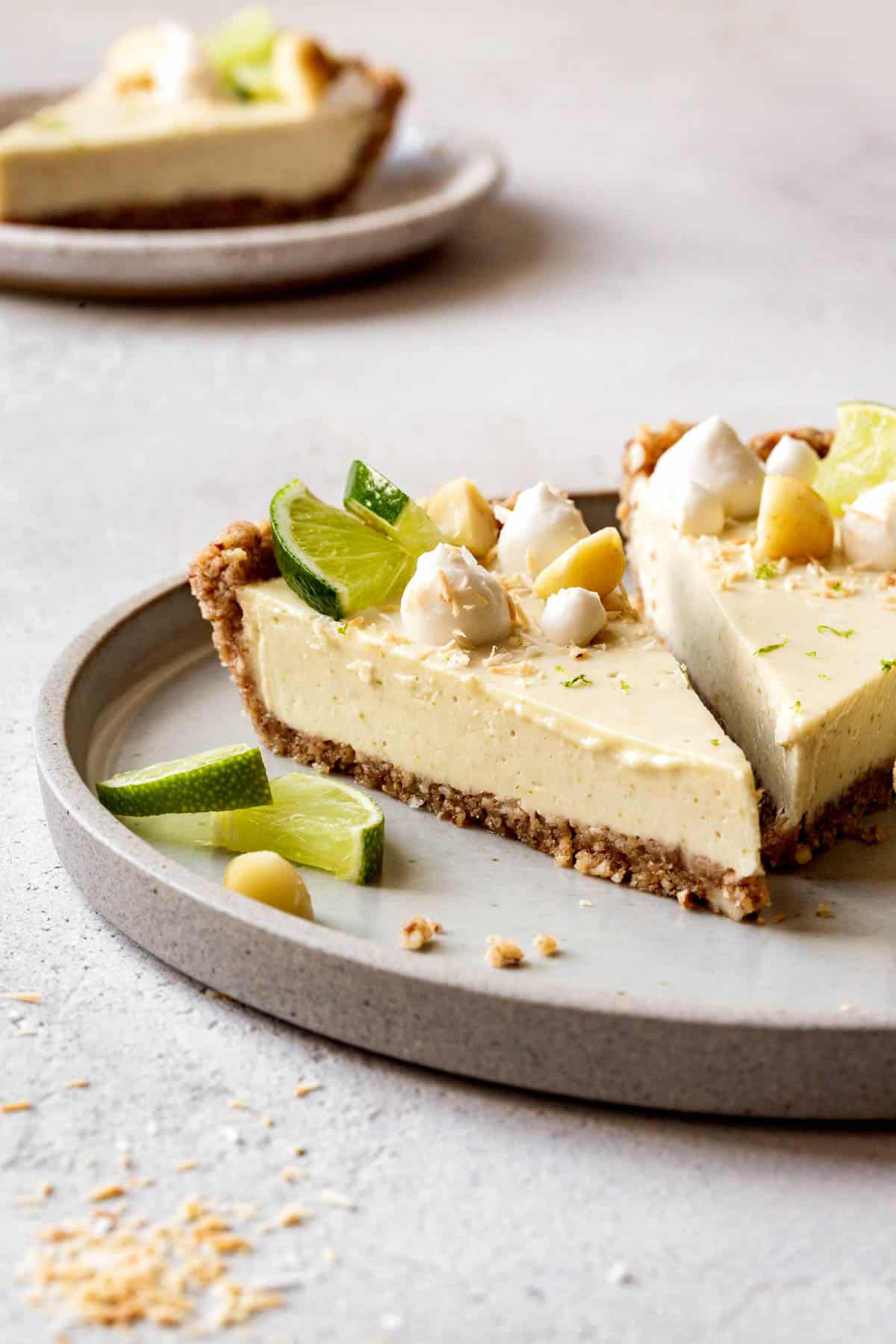 slice of vegan key lime pie, side angle