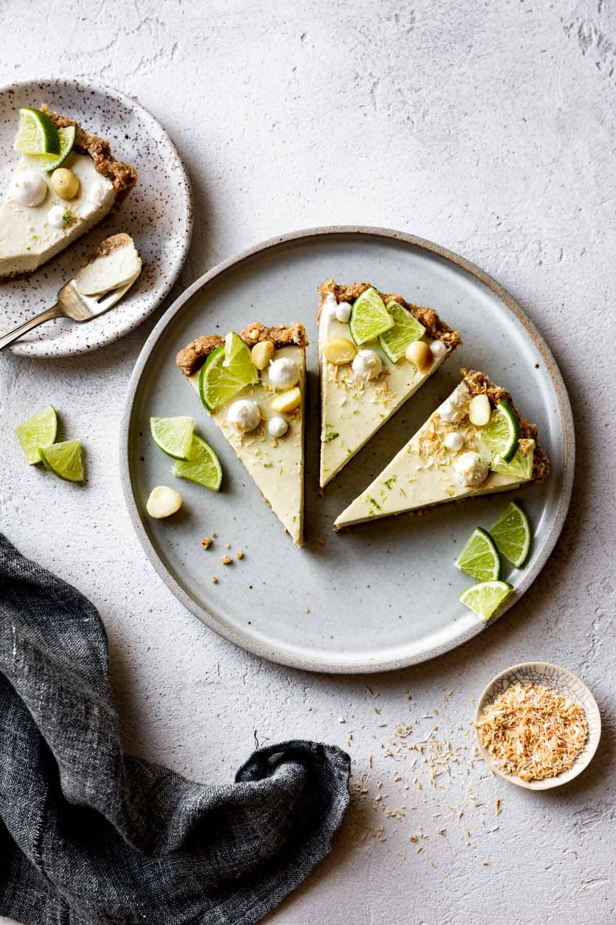 slices of paleo key lime pie on a plate