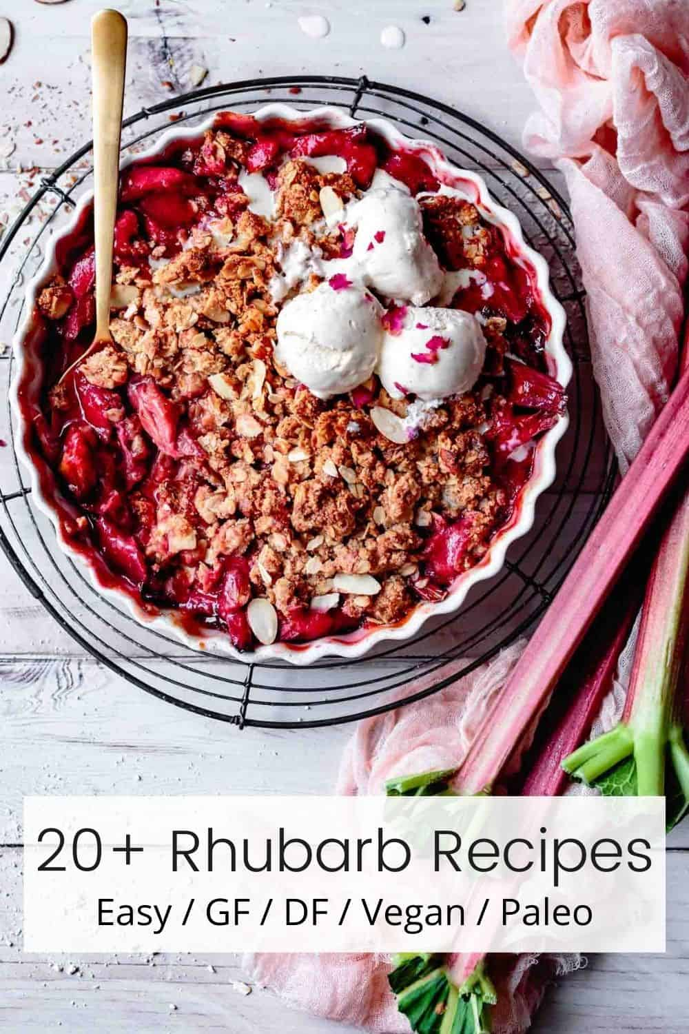 rhubarb recipe round-up image for pinterest with text