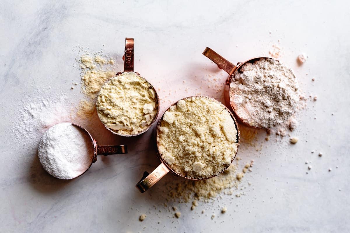 gluten-free flours: sweet rice, millet, almond, oat