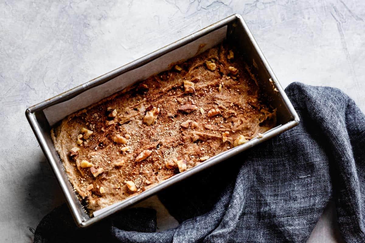 batter in loaf pan