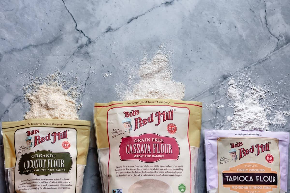 bags of Bob's Red Mill flours for cake recipe