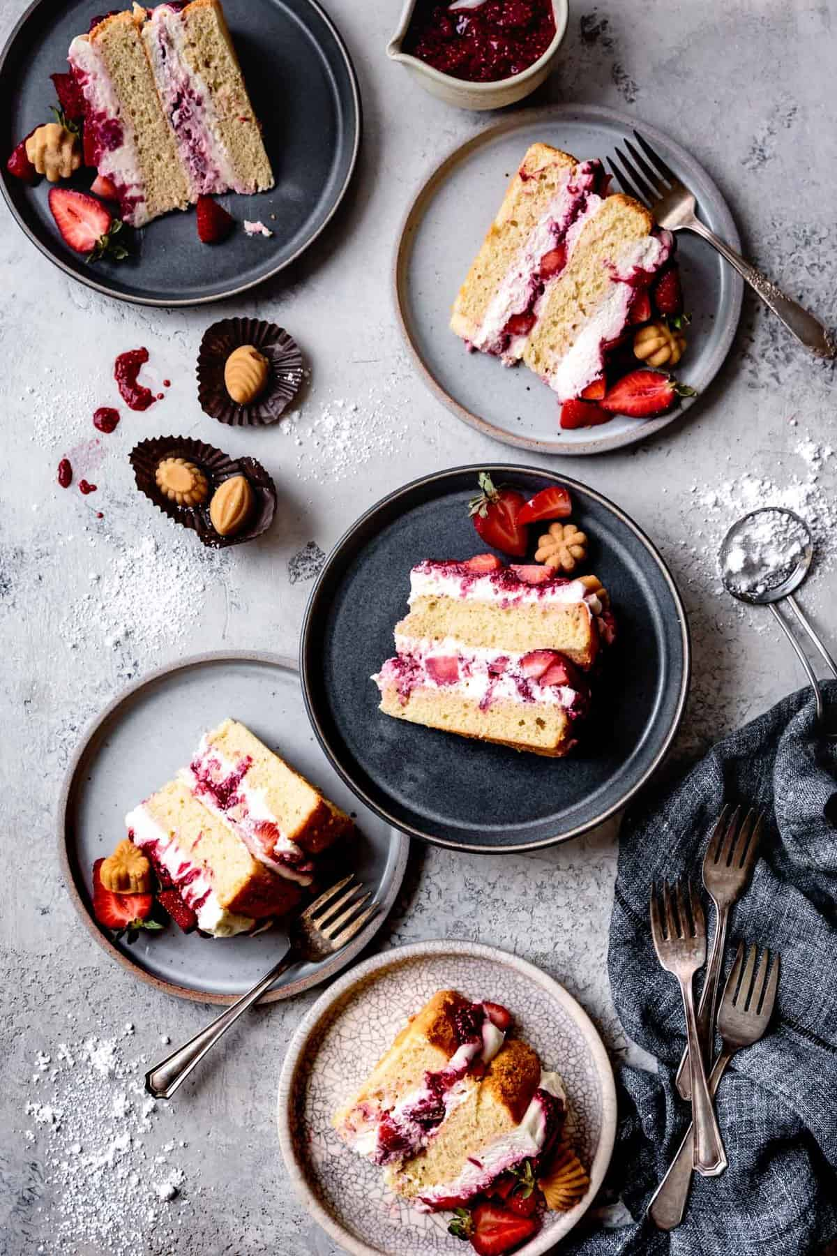 slices of gluten-free sponge cake on plates
