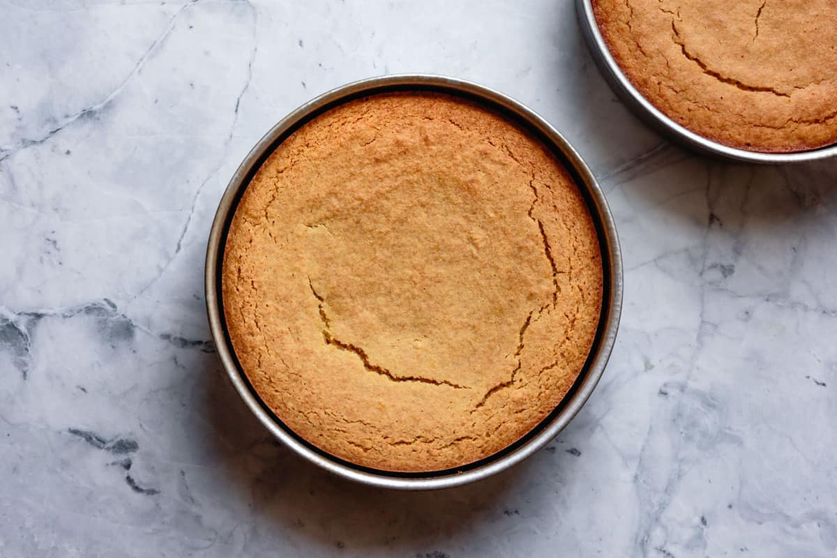 baked cake layers in pans