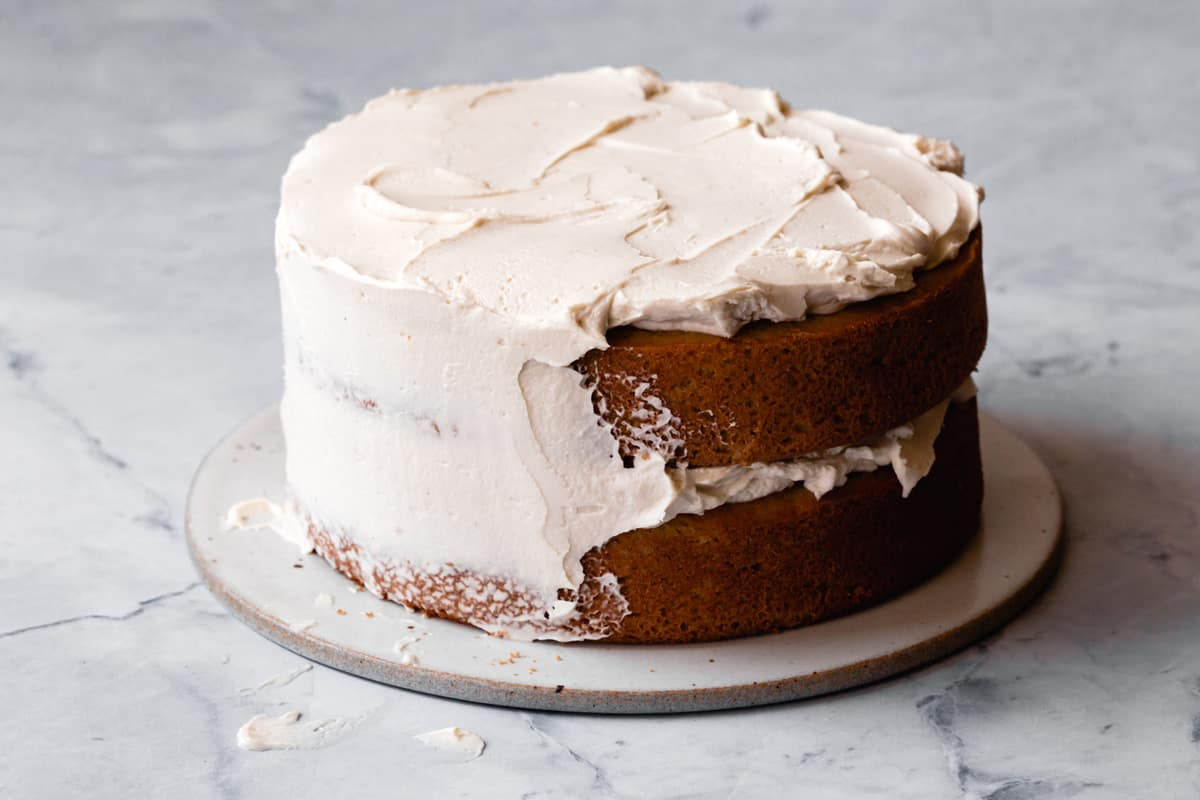 partially frosted cake
