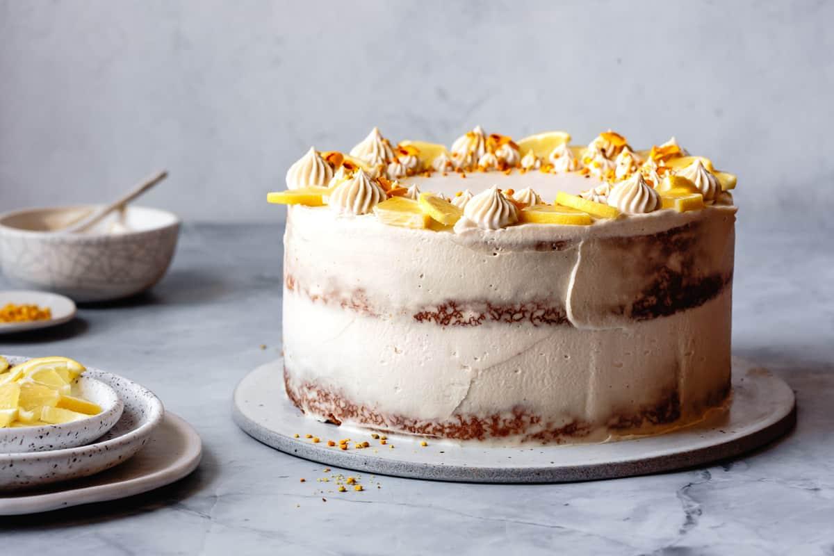frosted paleo lemon cake, side angle