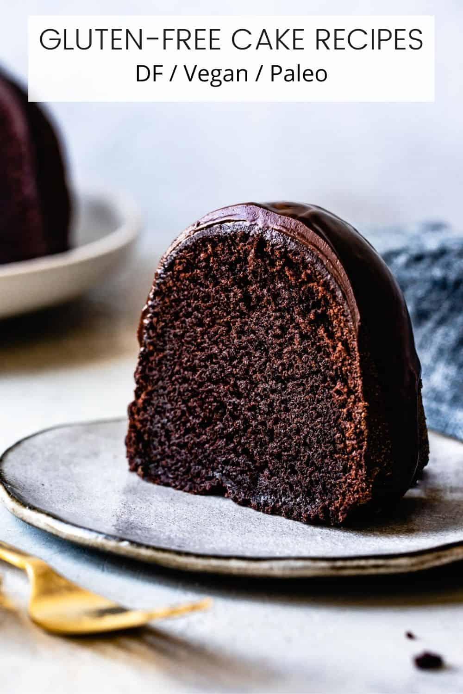 gluten-free cake (chocolate bundt) on a gray plate
