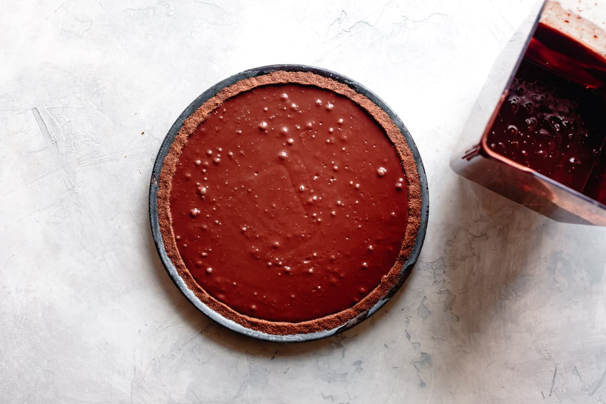 chocolate pie filling in the crust