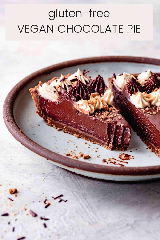 gluten-free chocolate pie slice with text overlay