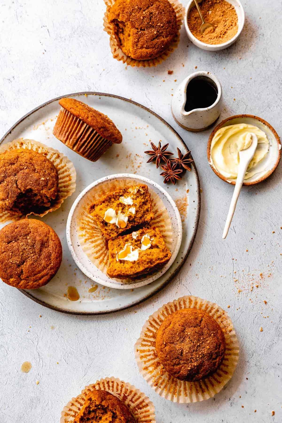 a platter of oat flour pumpkin muffins